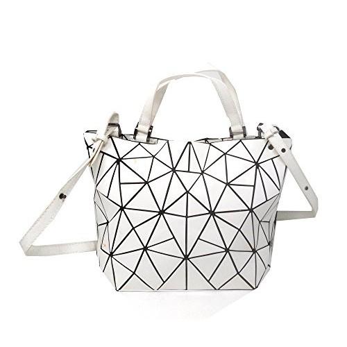 Di Grazia Women's Laser Diamond Cut Satchel Shoulder Handbag (White, White-Diamond-Foldable-Handbag)