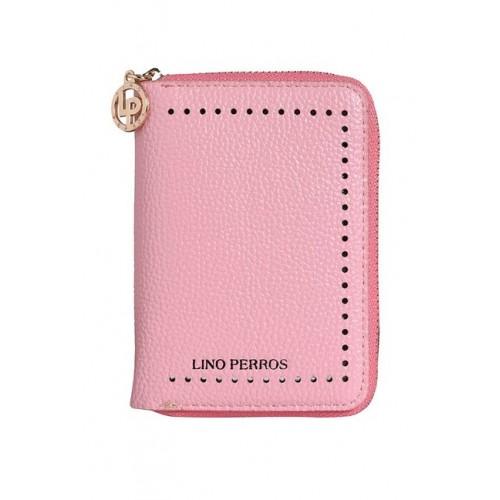 Lino Perros Pink Perforated Zip Around Wallet