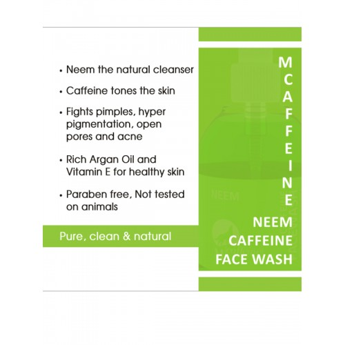 MCaffeine Unisex Neem Caffeine Face Wash Cleanser with Argan Oil 150 ml