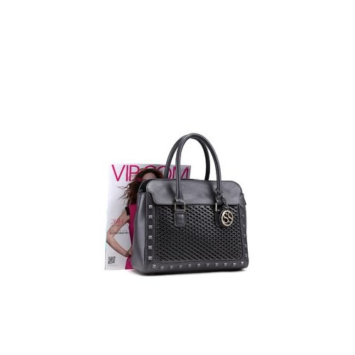Sabrina Scala Grey Hand Woven With Rivet Satchel