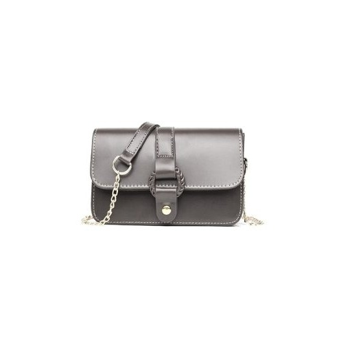 4d92252f86 ... Women PU Leather Mini Messenger Chain Bag Shouder Crossbody Bag(Gray)  ...