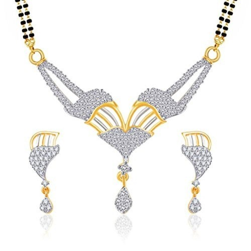 VK Jewels Gold And Rhodium Plated Mangalsutra pendant set with Earrings  for Women-MP1165G [VKMP1165G]