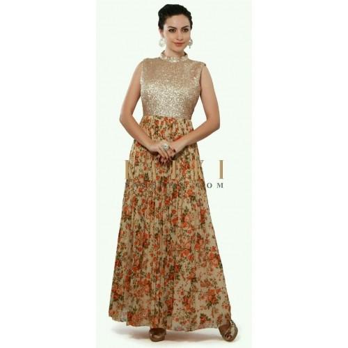 Buy Golden Color Party Wear Gown online | Looksgud.in