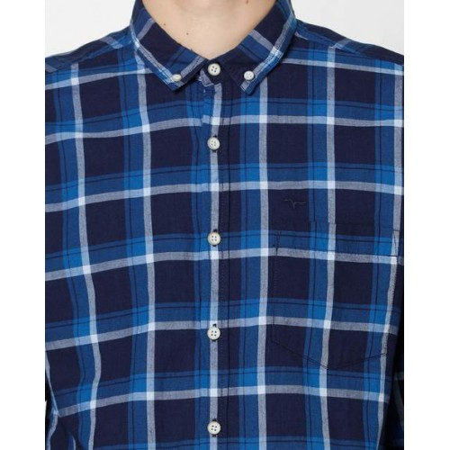 FLYING MACHINE Slim Fit Checked Shirt with Button-Down Collar