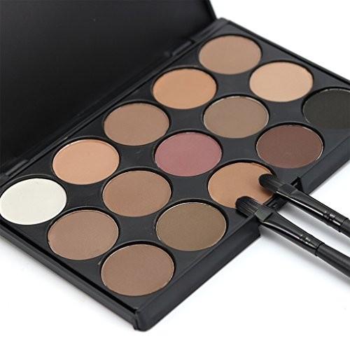 Segolike Fashion 15 Colors Matte Shimmer Pigment Eyeshadow Palette Cosmetic Set Earth Warm Skin Color Eye Shadow Smoky Eye Makeup Kit - #1
