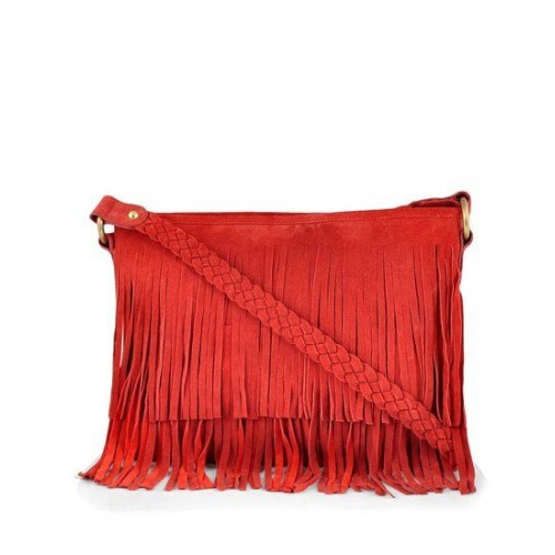 Paint Genuine Leather Red Suede Sling Bag