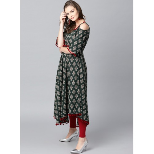 64e32f01949 Buy GERUA Women Green Printed Cold Shoulder Anarkali Kurta online ...