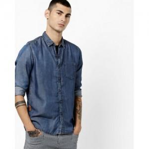NUMERO UNO Textured Denim Shirt with Patch Pocket