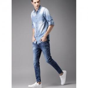 Moda Rapido Men Blue Faded Denim Shirt