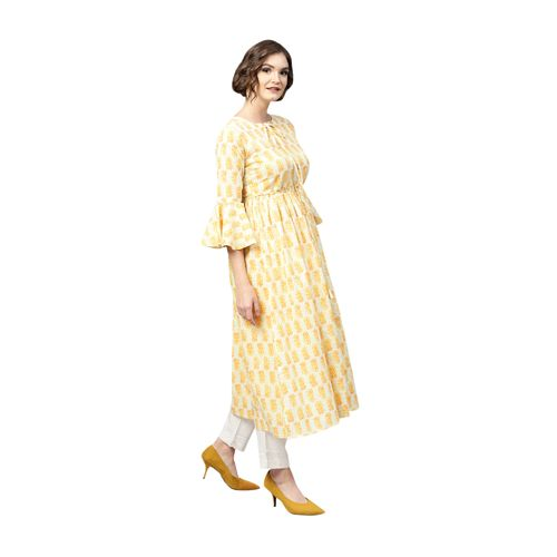 fb0a699518 Buy Gerua Yellow Printed Cotton Anarkali Kurta online | Looksgud.in