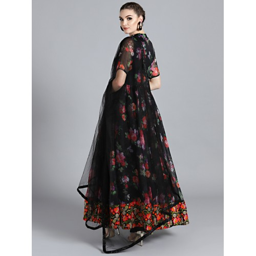 2f90dfd51d ... Bollywood Vogue Black Organza Printed Made to Measure Embroidered Kurta  with Churidar & Dupatta ...
