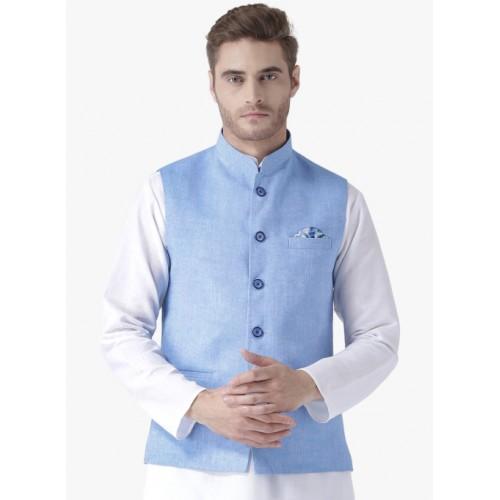 Hangup Blue Linen Textured Nehru Jacket