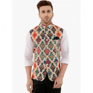 Hangup Multicoloured Poly Cotton Printed Nehru Jacket