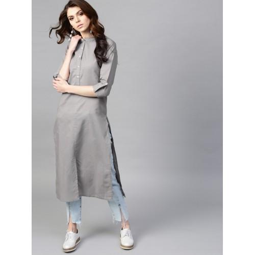 GERUA Women Solid Cotton Straight Kurta