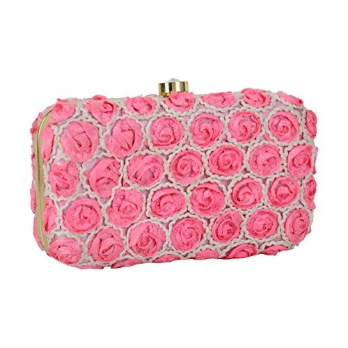 Tooba Women'S Pearl Small Rose Box Clutch