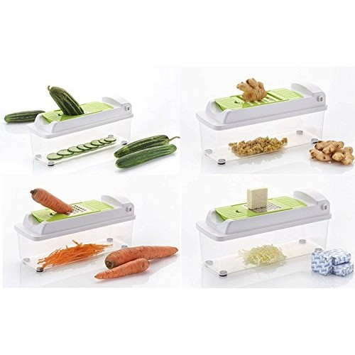 Vivir 12 In 1 Fruits And Vegetable Cutter - Chopper, Grater, Peeler - All In One (Green)