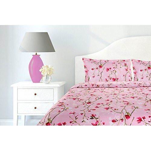 Haus & Kinder Summer Vintage Romance, 100% Cotton 144 Thread Count, Double Bedsheet With 2 Pillow Covers, (Baby Pink)