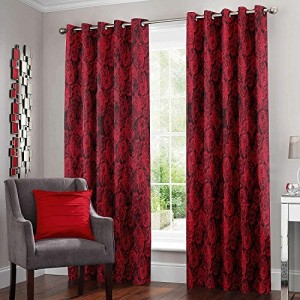 Story@Home Nature Abstract 2-Piece Eyelet Polyester Door Curtain Set - 7ft, Pink