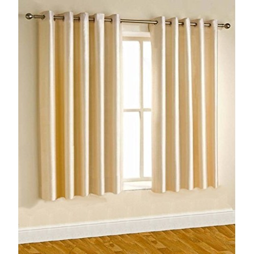 Home Candy Exquisite Collection Solid 2 Piece Eyelet Polyester Window Curtain - 5ft, Cream