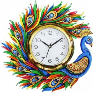 Dinine Craft Wooden Wall Clock for home Latest Design for Living Room Decorative Wall Clock 13X13 Inch (Multi color)