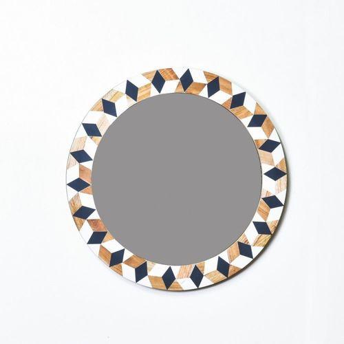 Buy Casa Decor Rhinestone Grade Mirror Wall Hanging Wooden Wall Decor Round Shape For Living Room Bedroom Kids Room Online Looksgud In