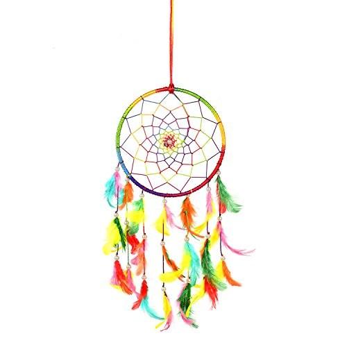 Ilu Dream Catcher Wall Hanging Handmade Beaded Circular Net Decoration Ornament Size 16 Cm Diameter
