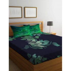 Portico New York Navy Blue & Green Solid Flat 210 TC Cotton 1 Extra Large Bedsheet with 2 Pillow Covers