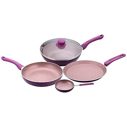 Wonderchef Royal Velvet Induction Base Aluminium Cookware Set, 4-Pieces, Purple