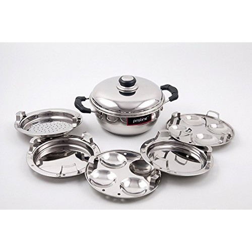 Pristine Stainless Steel Sandwich Base Mini Multi Purpose Kadai with Stainless Steel Lid & 5 Plates for Induction, 20 cm (Silver)