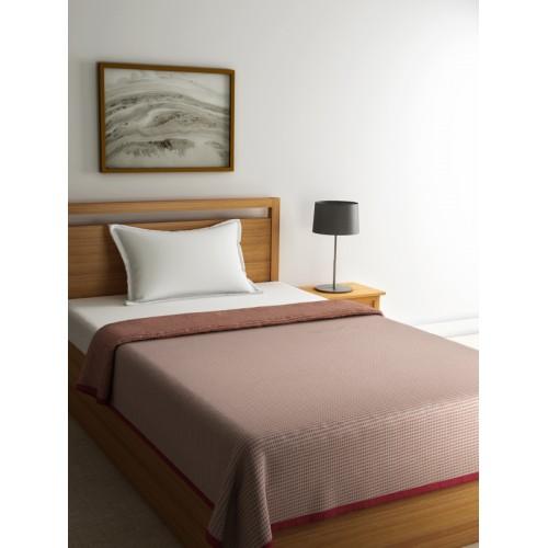 Raymond Home Rust Brown Printed Mild Winters Woollen Reversible Single Blanket