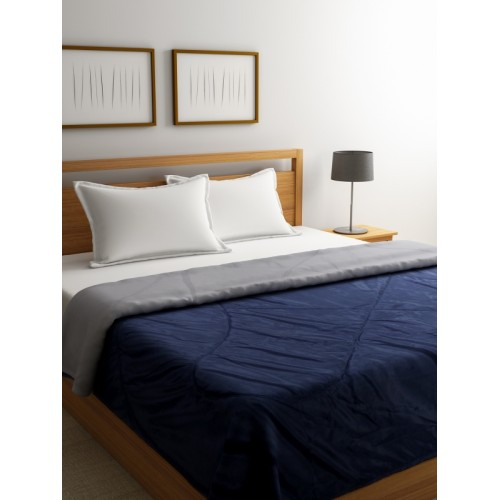 Stellar Home Navy Blue Grey Solid Ac Room 120 Gsm Double