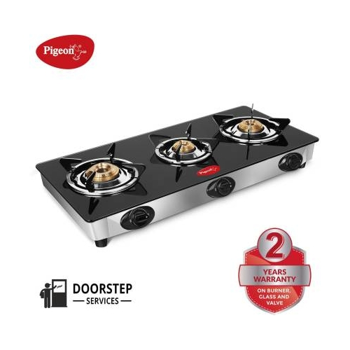 Pigeon Black Manual Gas Stove (3 Burners)