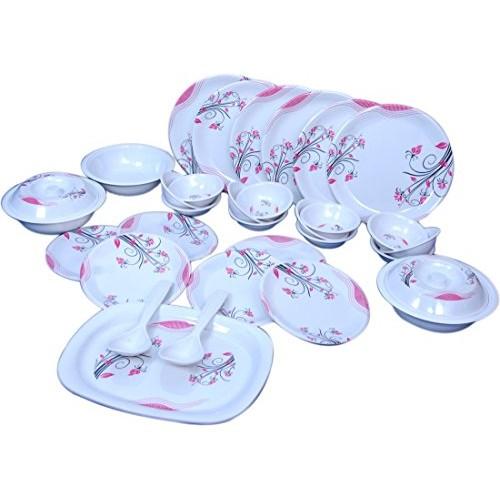 Raro Melamine Orbit Dinner set pack(Set of 32),White:Pink