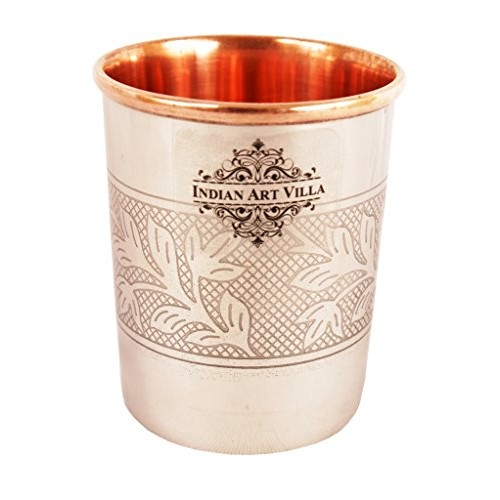 IndianArtVilla Embossed Design Steel Copper Glass Tumbler, Drinkware & Serveware, 250 ML