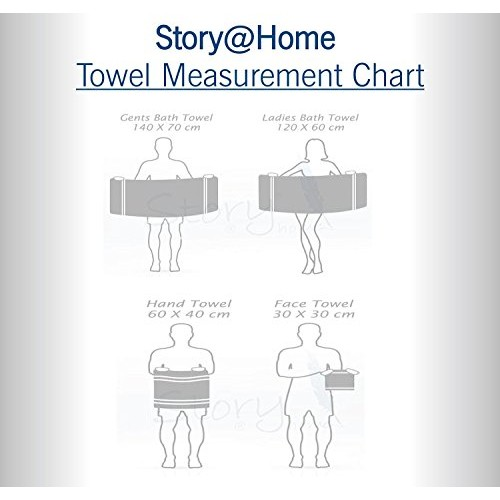 Story@Home 6 Pieces 450 GSM Cotton Towel Set for Couples - Navy and Lime