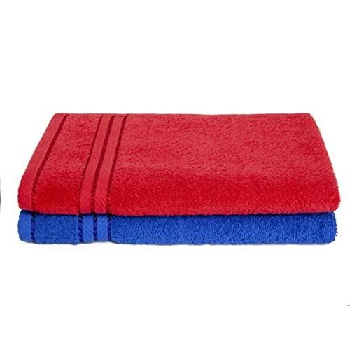 Homely 100% Cotton 6 Piece Towel Set, 2 Bath Towel 140 X 70 Cm, 2 Hand Towel 40 X 60 Cm, 2 Face Towel 30 X 30 Cm, 400 Gsm, Red And Blue