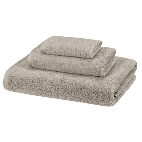 AmazonBasics 100% Cotton Quick-Drying 3-Piece Towel Set, Platinum
