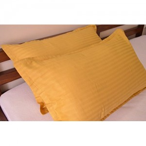 Trance Home Linen 100% Cotton 200TC Pillow Covers/Pillow case/Pack of 2 (Golden Yellow)