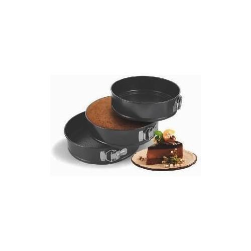 Okayji Teflon Coated Springform Cake Mould Pan Set, 3-Pieces, Black