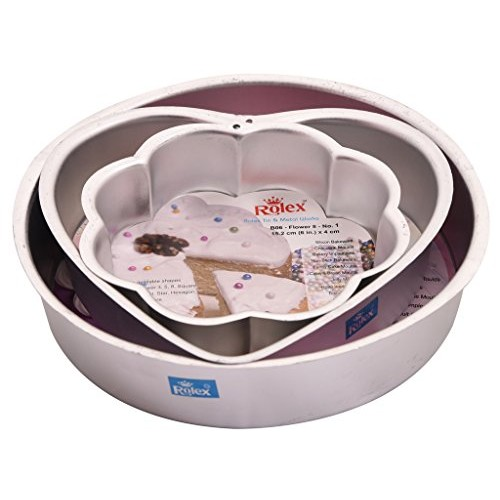 Rolex Cake Mould, Aluminium, Silver, 3 pc Set (Round, Heart, Flower) + 1 Milton (Spotzero) Scrub Free