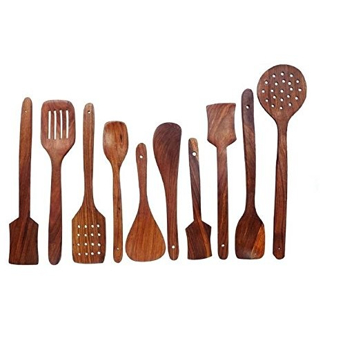 Vian Crafts'Man Pure Sheesham Wooden Kitchen Spoon Set Of 7 Pc Cookware Accessories With Holder