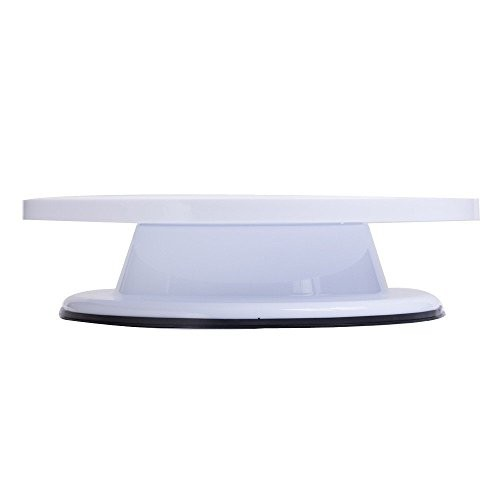 Bulfyss White Combo Pack - Cake Revolving Cake Decorating Cake Stand Sugarcraft 28cm Turntable and Easy Glide Fondant Smoother