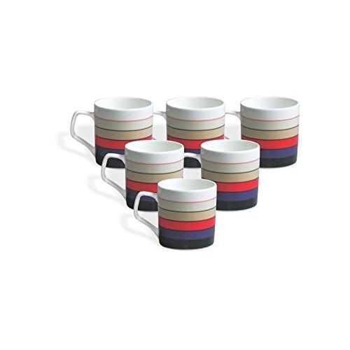 Clay Craft Multicolour Director Hilton 389 Bone China Coffee Mug Set, 220ml/6.6cm, Set of 6