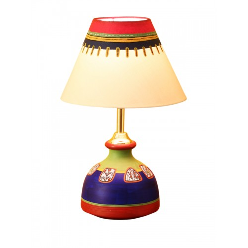ExclusiveLane 12 inch Terracotta Madhubani Hand-Painted Flat Matki Shaped Table Lamp
