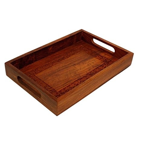 Vian Crafts'Man Elegant Wooden Hand Crafted Fruit Serving Tray For Dining Table