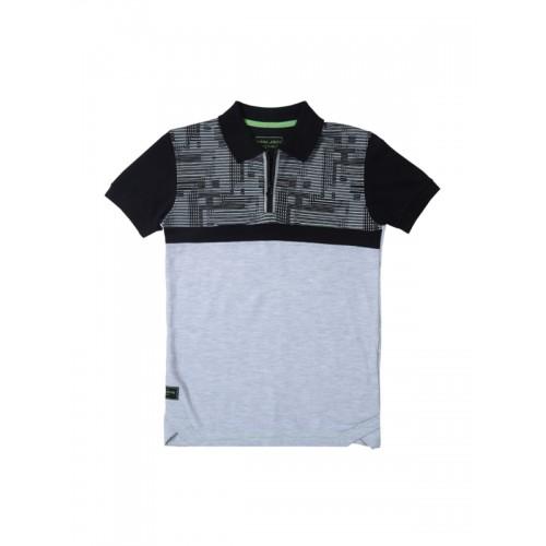 f8bda440 ... Gini and Jony Boys Grey Melange Self-Design Polo Collar T-shirt ...