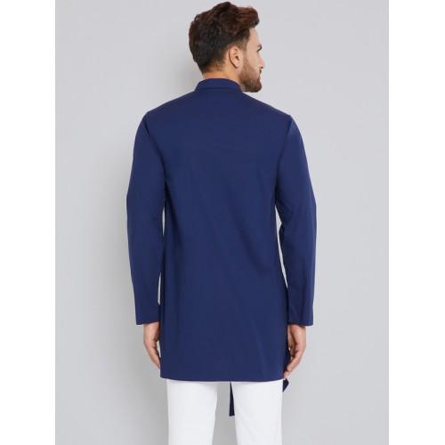 See Designs Blue cotton Solid A-Line Kurta