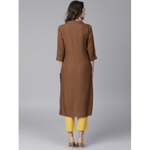 Shree Women Brown Solid Straight Kurta