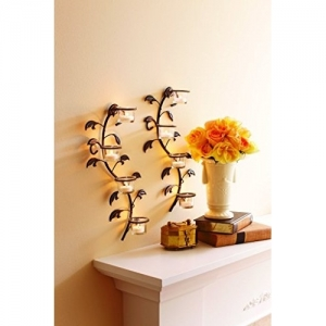 Hosley Wall Sconces 40 cm Long with 8 Cup Candle Holders