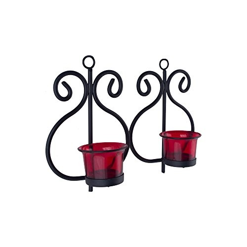 Homesake Metal Wall Scone with Glass and T-Light Candles (13 cm x 7 cm x 19 cm, Black, Set of 2)